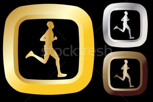 Runner icon man gezondheid goud silhouet Stockfoto © bokica