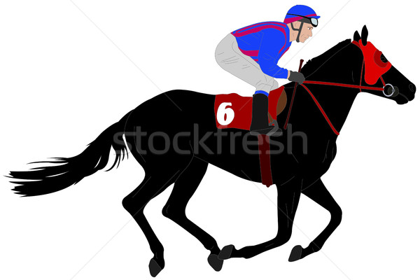 jockey riding race horse illustration 6 Stock photo © bokica