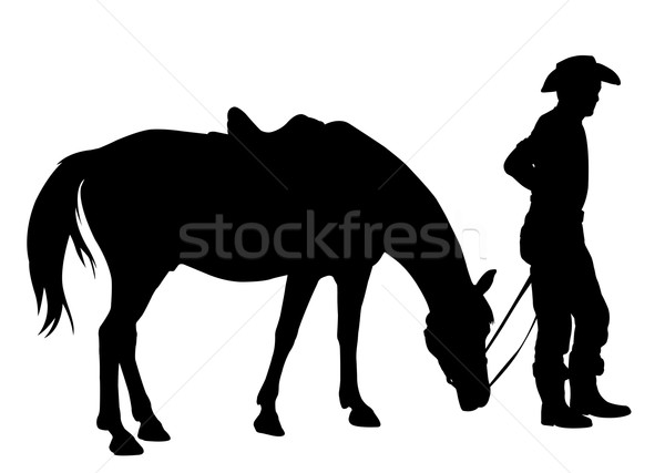 Cowboy paard silhouet sport jonge vrijheid Stockfoto © bokica