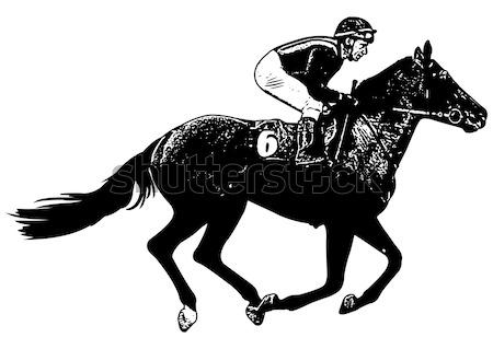 Jockey paardrijden race paard schets illustratie Stockfoto © bokica