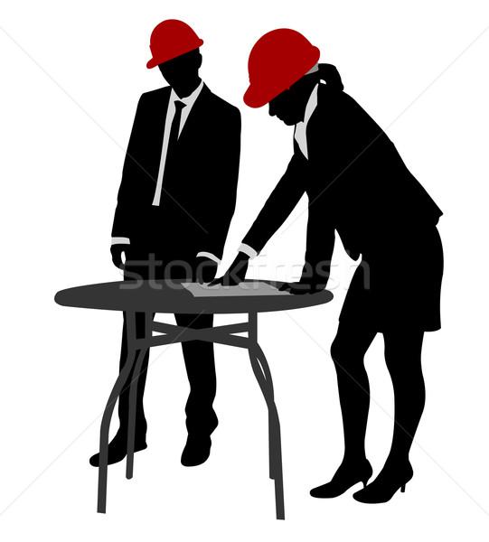 Jonge ingenieurs werken silhouetten man vergadering Stockfoto © bokica
