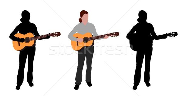 Femme jouer guitare acoustique silhouette illustration musique Photo stock © bokica