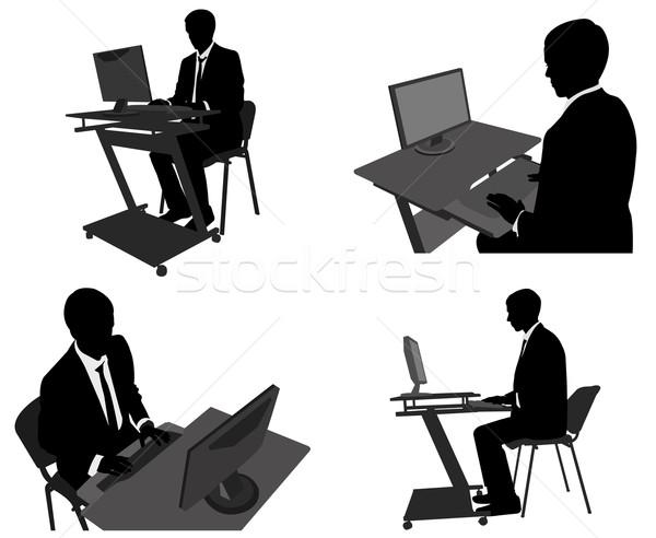 Zakenman werken computer kantoor internet lichaam Stockfoto © bokica