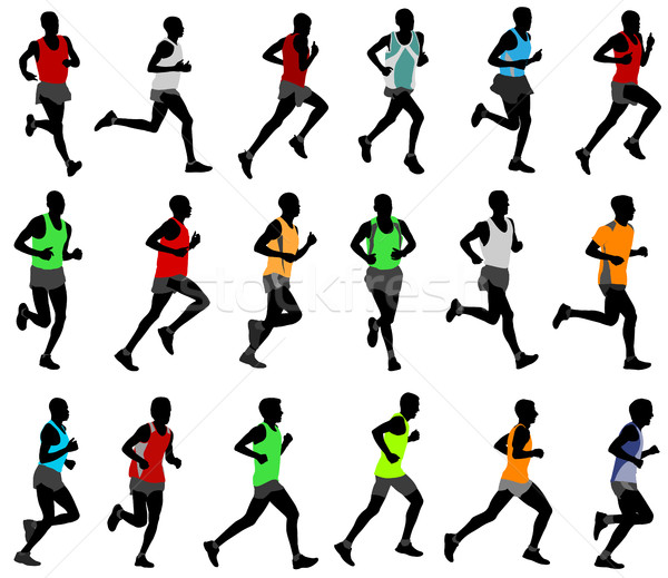 runners  in colored sportswear silhouettes Stock photo © bokica