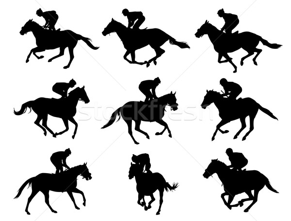 racing horses and jockeys silhouettes Stock photo © bokica