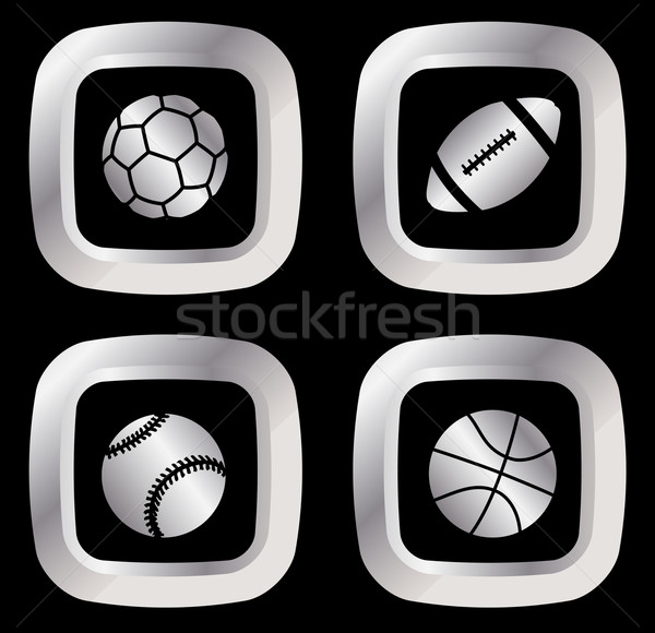 set of four silver sport icons Stock photo © bokica