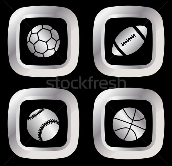 Szett négy ezüst sport ikon szett ikonok Stock fotó © bokica