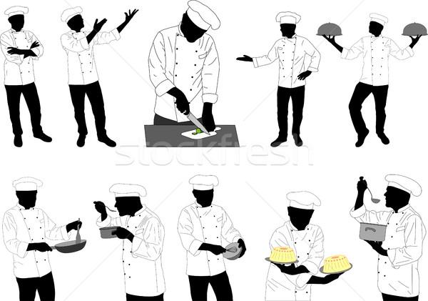 Colección cocina chefs siluetas alimentos Foto stock © bokica