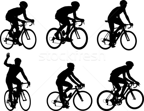 racing bicyclists silhouettes collection Stock photo © bokica