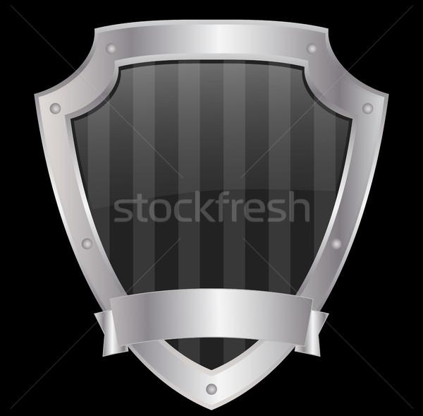 empty shield with metallic frame Stock photo © bokica