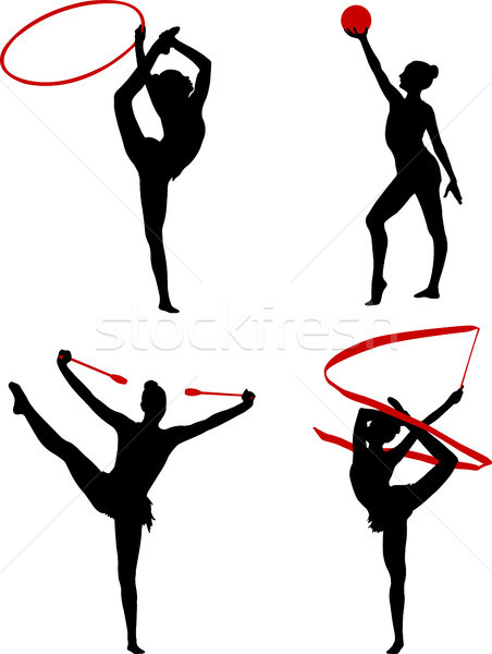 rhythmic gymnastics silhouettes Stock photo © bokica
