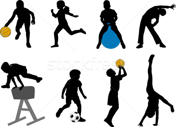 children sport silhouettes  Stock photo © bokica