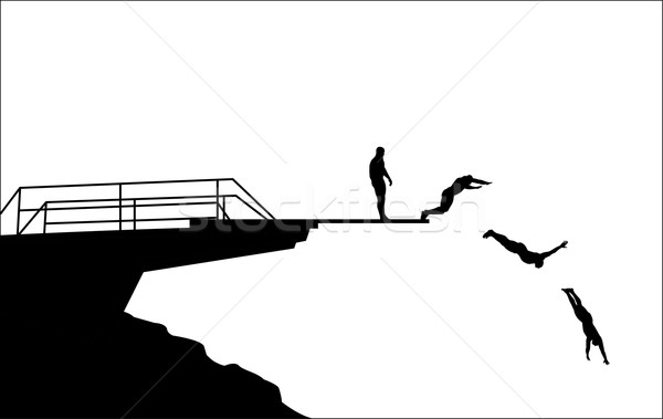 diving silhouettes Stock photo © bokica