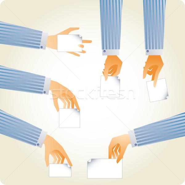 Yararlı eller ayarlamak kâğıt Stok fotoğraf © bonathos
