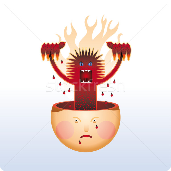Zangado dentro monstro humanismo cabeça ruim Foto stock © bonathos