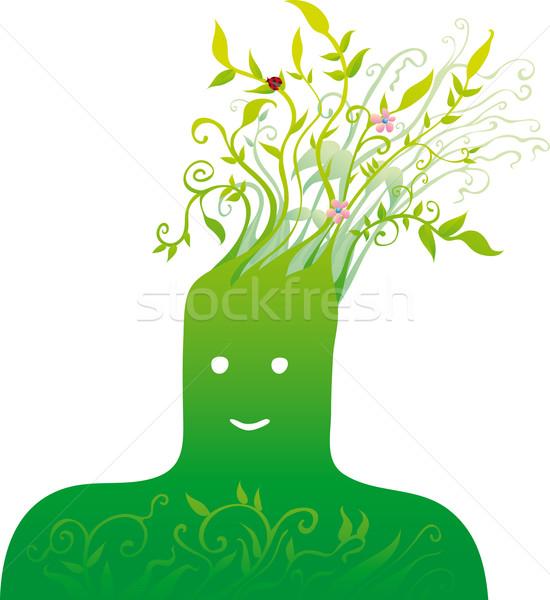 зеленый голову листьев волос Сток-фото © bonathos
