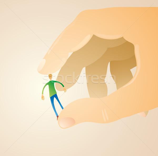 Férfi enyém ujjak kicsi kettő óriás Stock fotó © bonathos