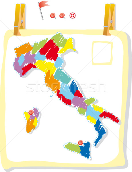 Stock photo: Italy map in paint style