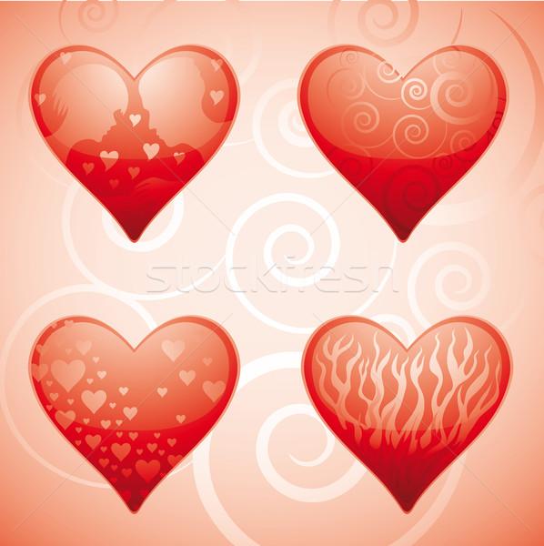 4 心 バレンタイン 要素 ストックフォト © bonathos