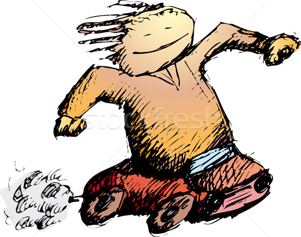 автомобилей мальчика радости небольшой скорости колесо Сток-фото © bonathos