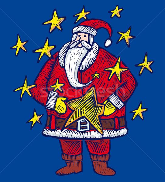 Santa Claus within stars Stock photo © bonathos