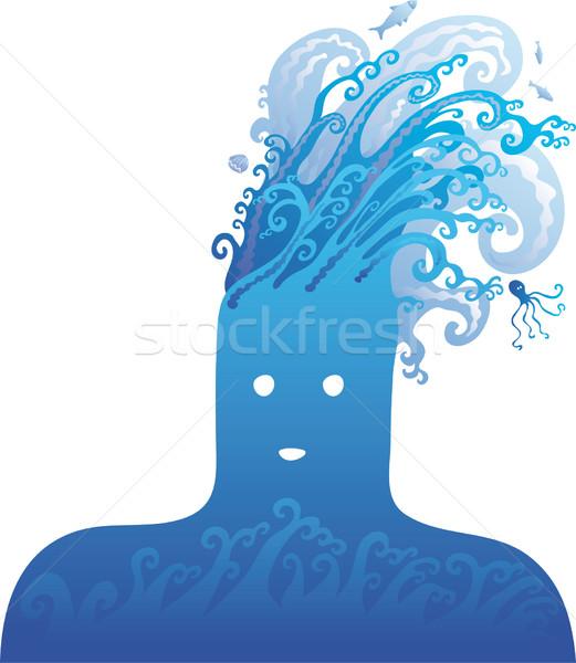 синий голову большой воды волны один Сток-фото © bonathos