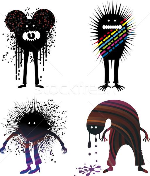 Quatro estranho pessoas grunge gráfico Foto stock © bonathos