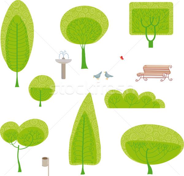 парка набор построить собственный дизайна деревья Сток-фото © bonathos