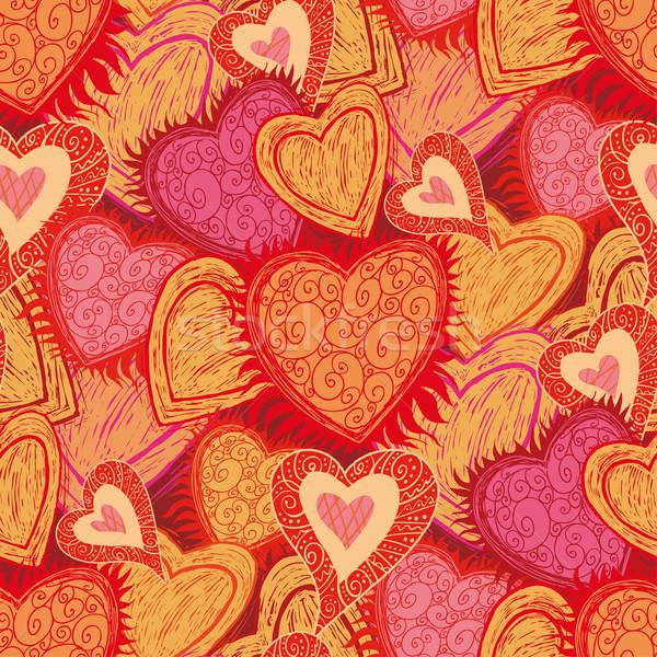 Seamless hearts pattern Stock photo © bonathos