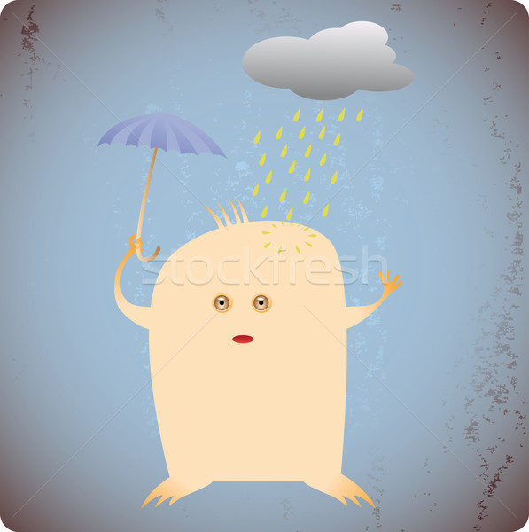 Kötü hava yağmurlu bağbozumu sahne şemsiye Stok fotoğraf © bonathos