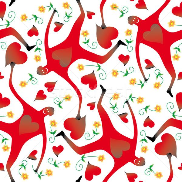 Sem costura amor padrão valentine papel de parede Foto stock © bonathos