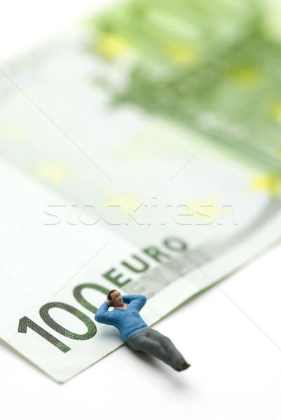 Adormecido euros homem fantoche euro papel moeda Foto stock © bonathos