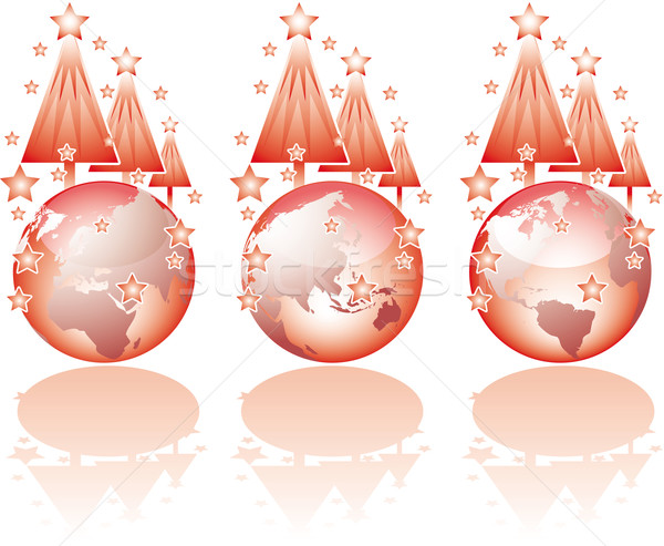 Three christmas glass world views Stock photo © bonathos