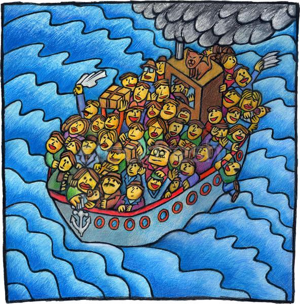 ボート 人 貧しい セーリング 海 ストックフォト © bonathos
