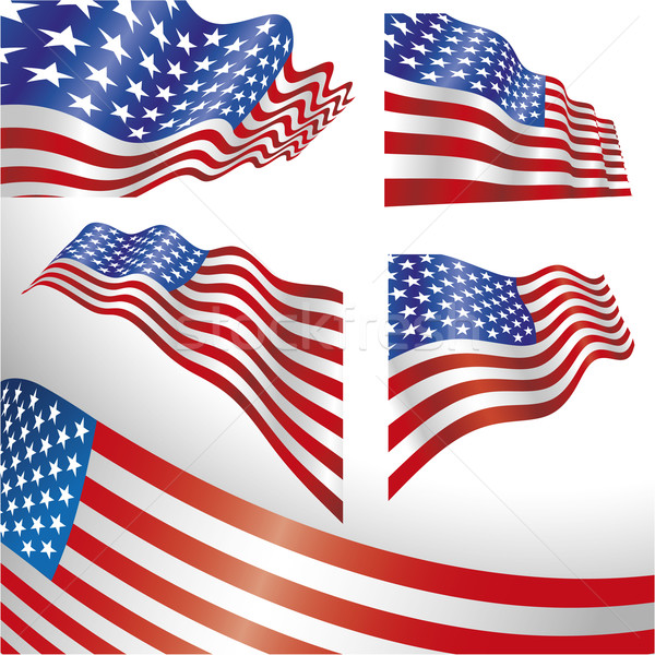 USA windy flags  Stock photo © bonathos