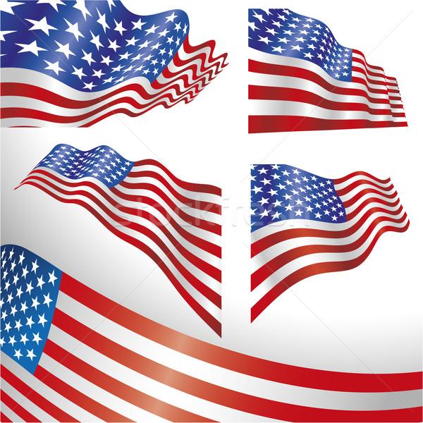EUA ventoso bandeiras conjunto distorcida bandeira Foto stock © bonathos