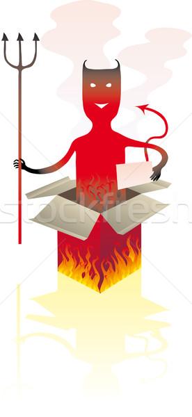 悪魔 ボックス 赤 ジャンプ 炎 煙 ストックフォト © bonathos