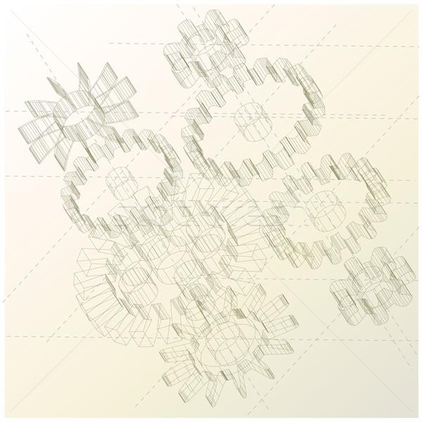 Zahnräder technischen Zeichnung veranschaulichen schwierig hallo Tech Stock foto © bonathos