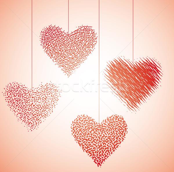 Coração dançar quatro gráfico valentine enforcamento Foto stock © bonathos