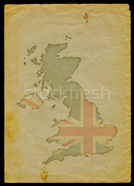Pokaż starego papieru banderą wewnątrz wyryty strona Zdjęcia stock © bonathos