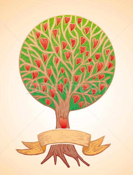 Amor árvore corações bandeira natureza coração Foto stock © bonathos