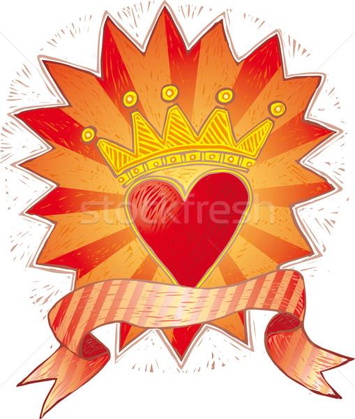 中心 バナー 愛 赤 ロマンチックな スクロール ストックフォト © bonathos