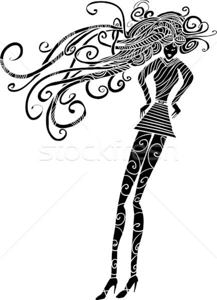 Hosszú haj nő sziluett hosszú lábak örvény zokni Stock fotó © bonathos