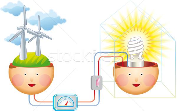 Pensar ventoso elétrico poder geração vento Foto stock © bonathos