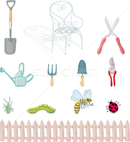 ガーデニング オブジェクト セット 昆虫 木材 ストックフォト © bonathos