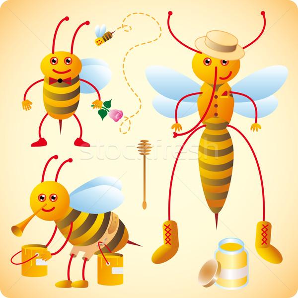 Three happy bees  Stock photo © bonathos