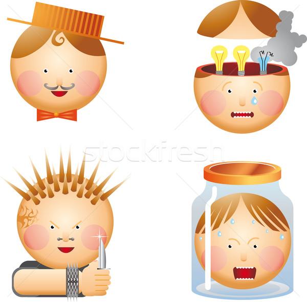 Little men's heads  Stock photo © bonathos