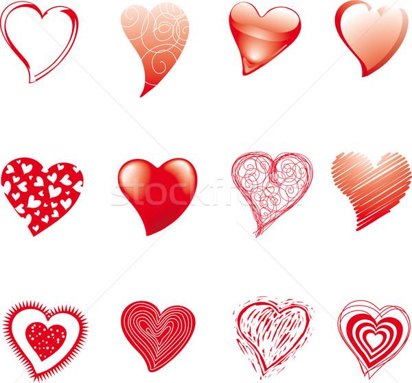 двенадцать сердцах набор различный Стили сердце Сток-фото © bonathos