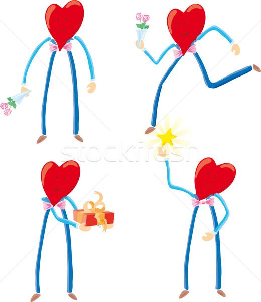 Quattro cuore guardando romantica attività Foto d'archivio © bonathos