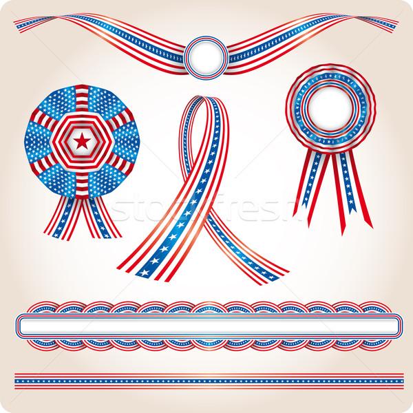 Conjunto EUA bandeira produtos eleição Foto stock © bonathos